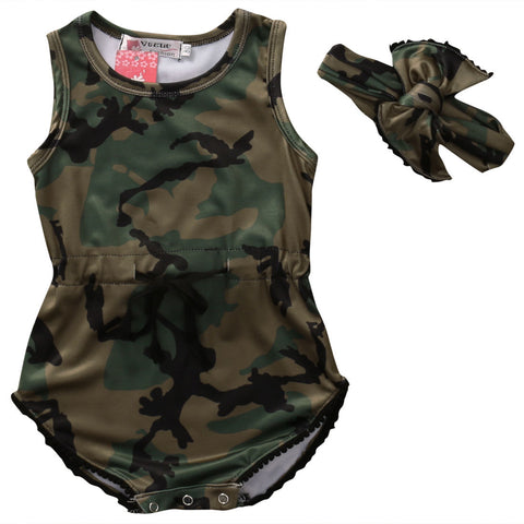 2 Piece Set: Camouflage Sleeveless Bodysuit + Headband