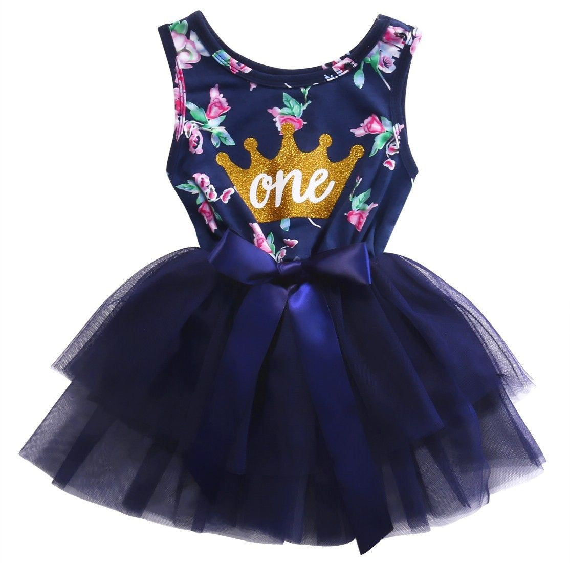 One Princess Navy Floral Tulle Dress