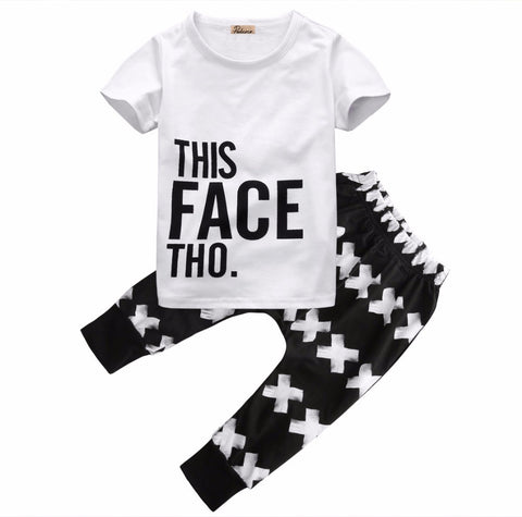 2 Piece Set: This Face Tho Tee & Pants