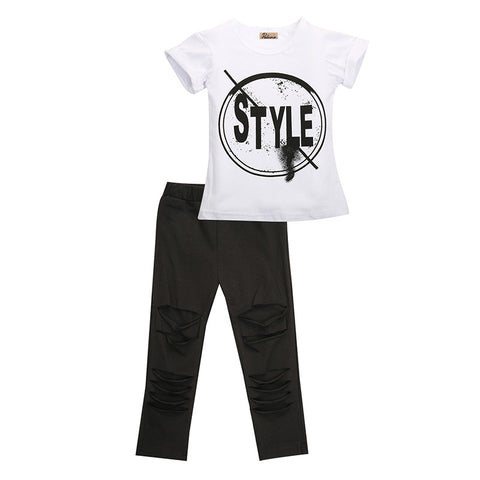 2 Piece Set: Tee + Distressed Pants