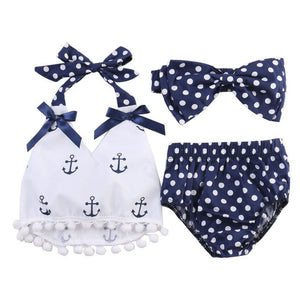 3 Piece Set: Nautical Polka Dots Top, Shorts & Headband