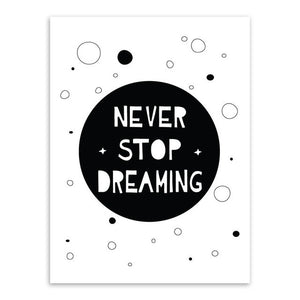 Never Stop Dreaming Canvas Art Poster