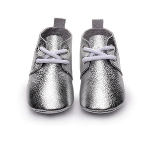 Genuine Leather Baby Lace Ups (Silver)