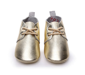 Genuine Leather Baby Lace Ups (Gold)