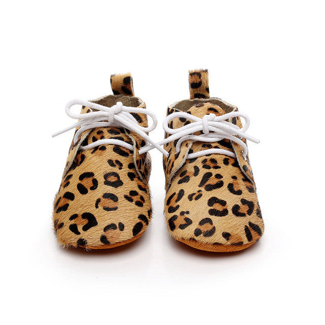 Genuine Horse Hair Soft Sole Baby Lace Ups (Light Leopard)