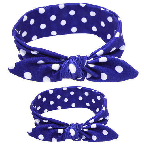 Mommy & Me Headband Set (Blue Polka Dot)