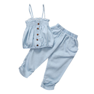 2 Piece Set: Denim Top + Cropped Harem Pants