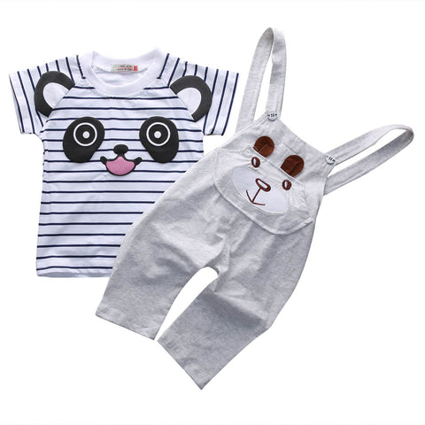 2 Piece Set: Panda Top + Overalls (Gray)