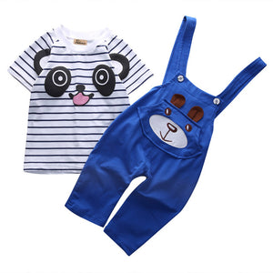 2 Piece Set: Panda Top + Overalls (Blue)