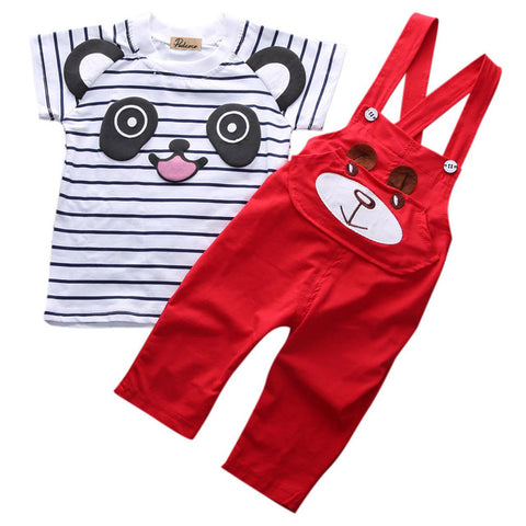 2 Piece Set: Panda Top + Overalls (Red)