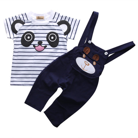 2 Piece Set: Panda Top + Overalls (Navy)