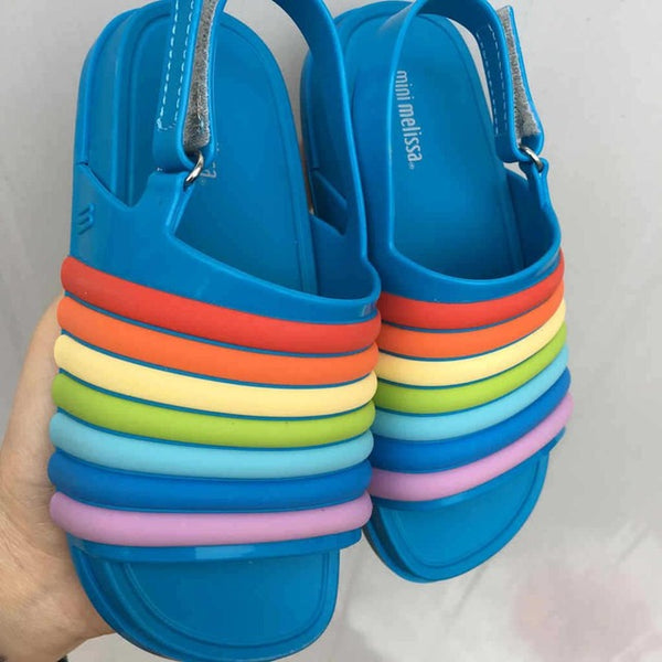 Rainbow Striped Jelly Sandals