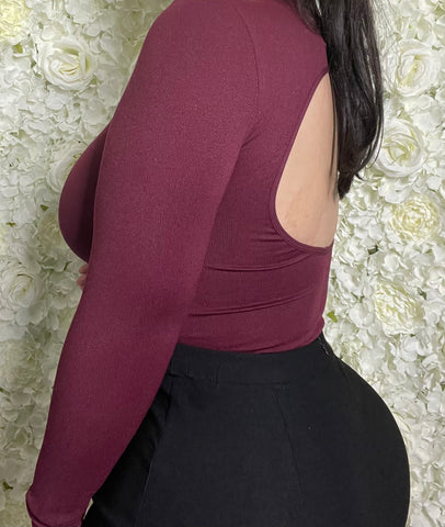 Cassandra Open Back Bodysuit (Burgundy)