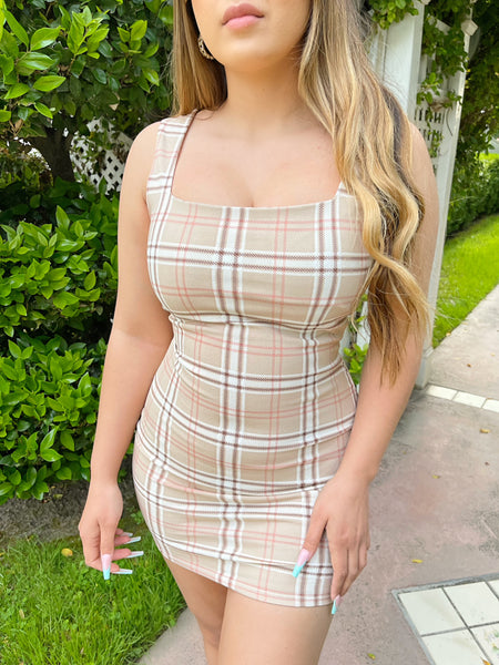 Valarie Plaid Dress (Nude)
