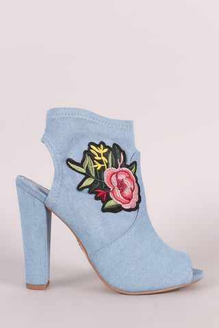 d92f57fe44b Delicious Denim Floral Patch Peep Toe Chunky Heeled Booties