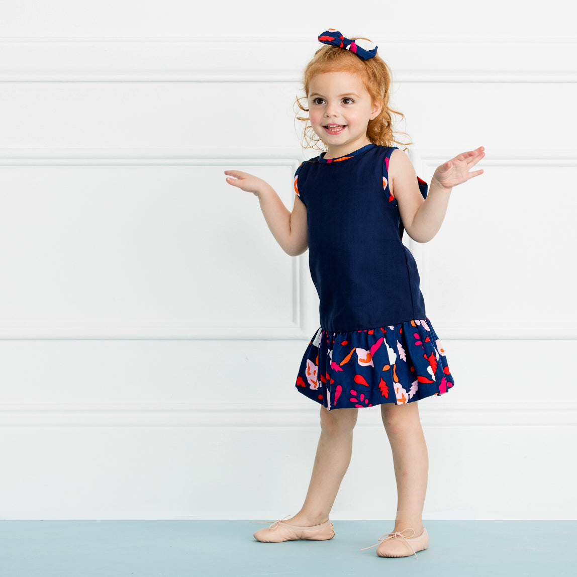 The Dylan Dress in Navy Collage