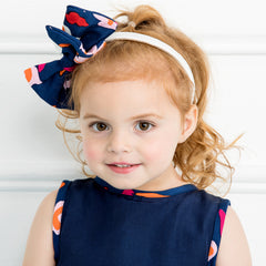 Side Bow Headband in Navy Collage