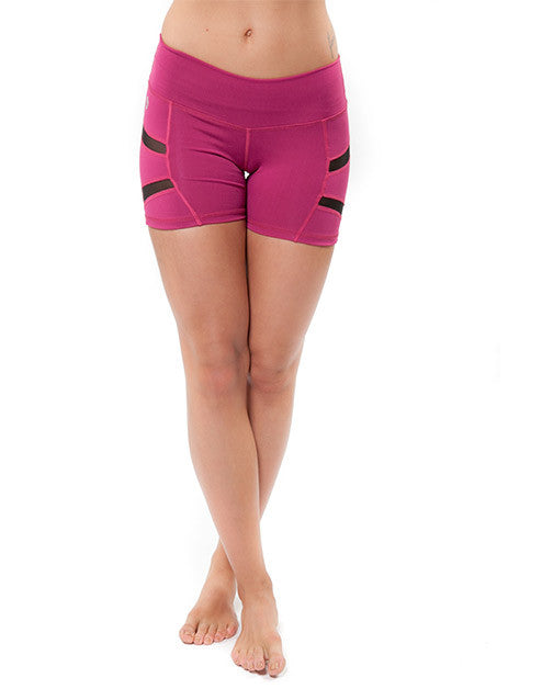 SLASHED MESH SHORTS – MAGENTA