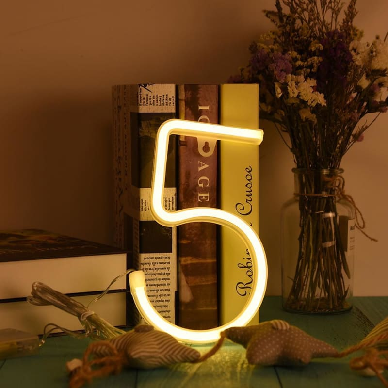 To 9 Led Neon Sign Number Light Led Light Wall Word Poster Background Room Wedding Party Decor | Edlpe