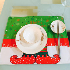 Christmas Pad Placemat Coasters Set Decor Cartoon Elf Tableware Setting Gift | Edlpe