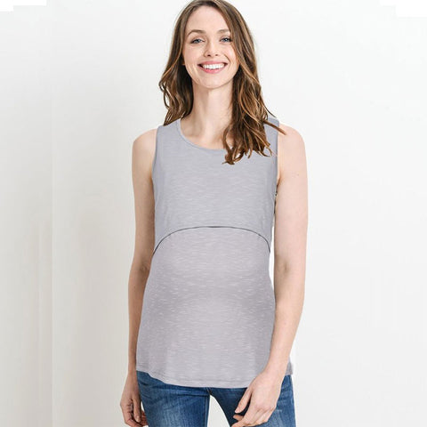 Maternity Pure Color Sleeveless Breastfeeding Vest Top | Edlpe