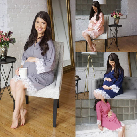 Pregnant Women Lace Panelled Long Sleeve Dress Ladies Maternity Wrap Dresses | Edlpe