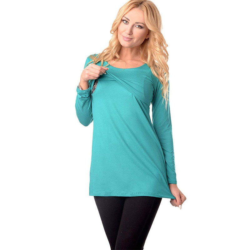 Pregnant Women Long Sleeve Plain Nursing Tops Maternity Breastfeeding Shirt | Edlpe