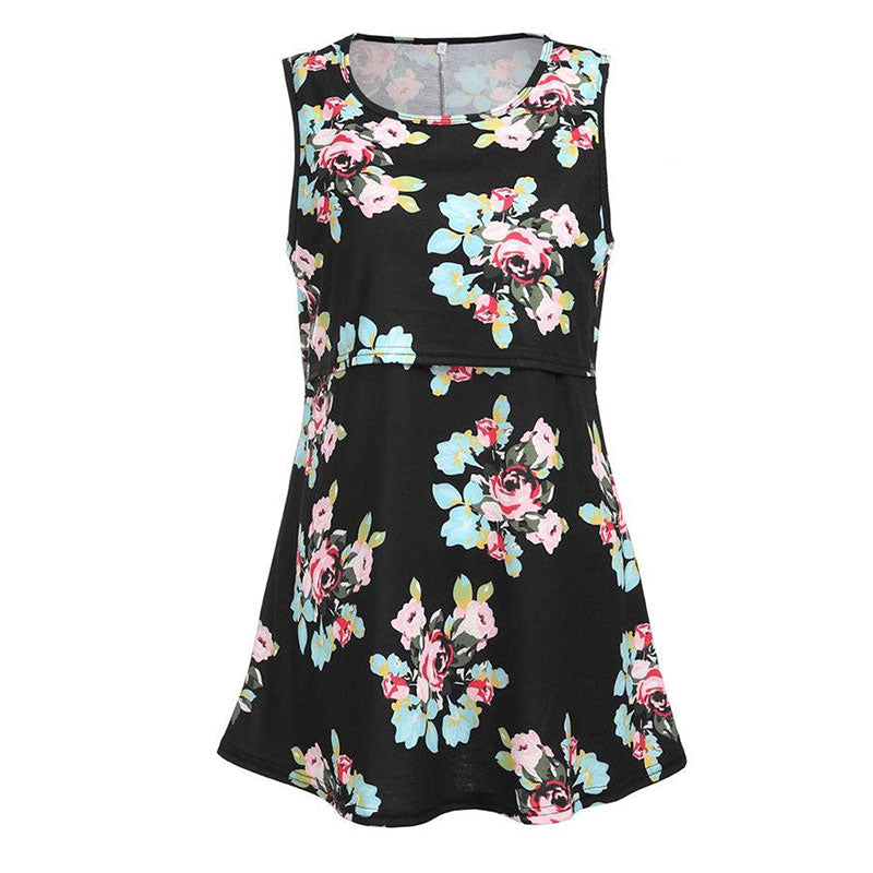 Retro Floral Maternity Breastfeeding Sleeveless A-Line Top Blouse | Edlpe