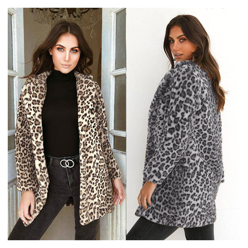 Long Sections Plush Leopard Coat | Edlpe