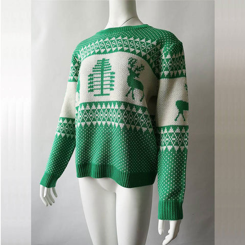 Christmas geometric elk jacquard knit top sweater