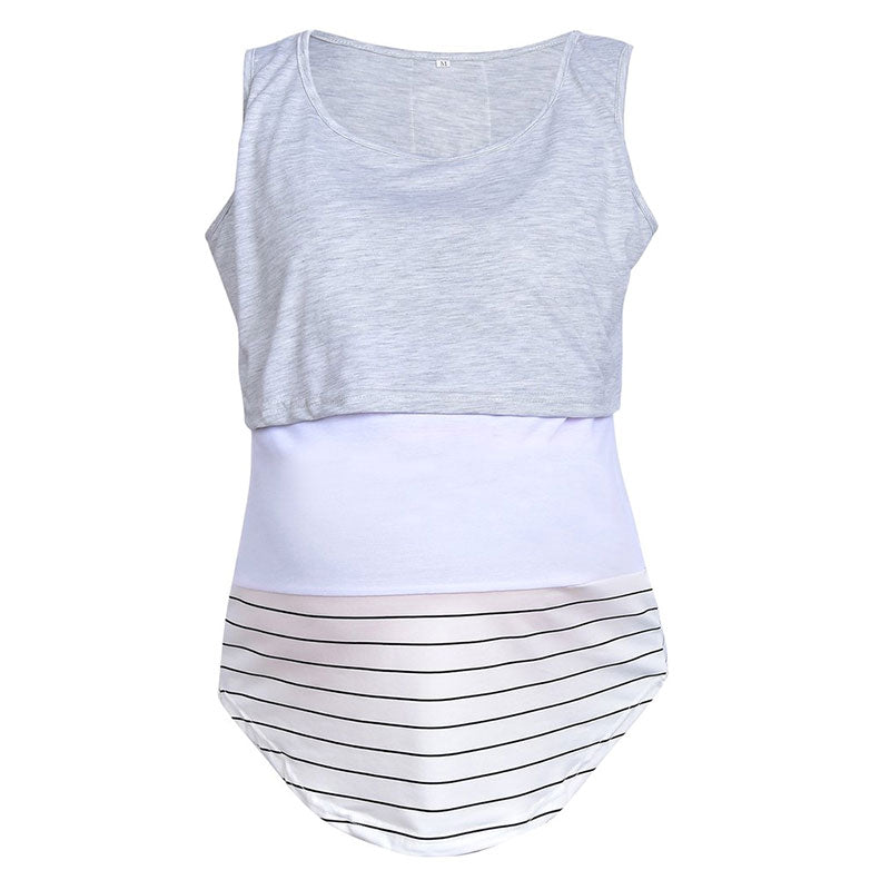 Color Block Maternity Breastfeeding Lace Stitching Stripe Vest Top | Edlpe