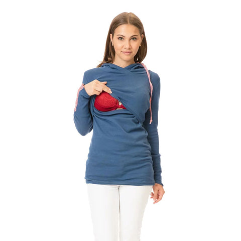 Pregnant Women Long Sleeve Hoodie Shirt Breast-Feeding Maternity Tops Blouse | Edlpe