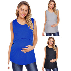 Maternity Pure Color Sleeveless Breastfeeding Vest Top
