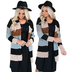 Striped Knitted Sweater Long Cardigan Ladies Pocket Winter Outwear