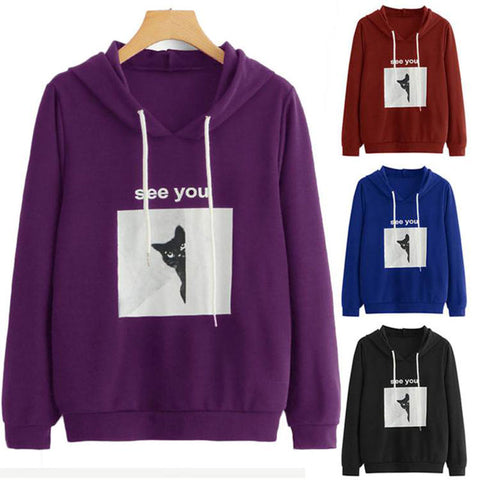Square Cartoon Cat Letter Hooded Sweatshirts | Edlpe