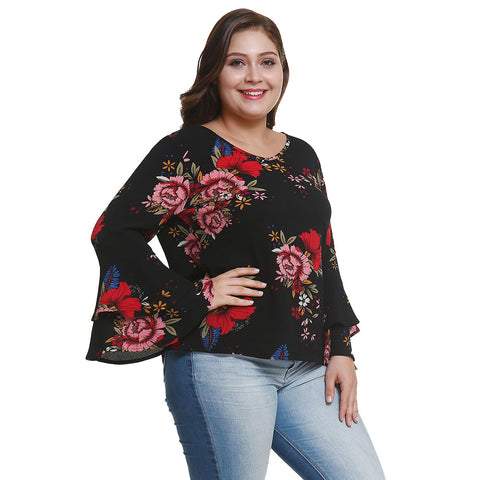 Plus Size Women Floral Blouse Flare Long Sleeve Casual Ladies Tops | Edlpe