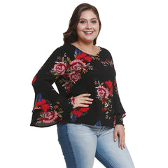 Plus Size Women Floral Blouse Flare Long Sleeve Casual Ladies Tops