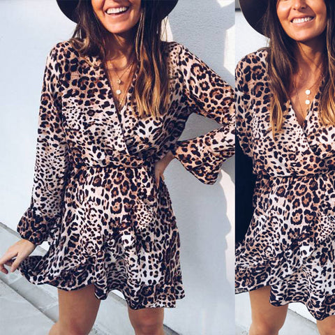 Leopard Print V Neck Wrap Dress Long Sleeve Casual Frill Mini Dress | Edlpe