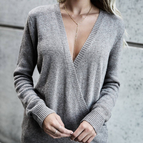 Plus Size Wrap V Neck Knitted Sweater Tops Casual Ladies Long Sleeve Pullover | Edlpe