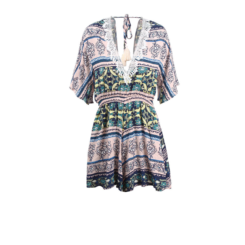 Womens Holiday V-neck Mini Playsuit Ladies Floral Print Short Jumpsuit Summer Beach Sundress