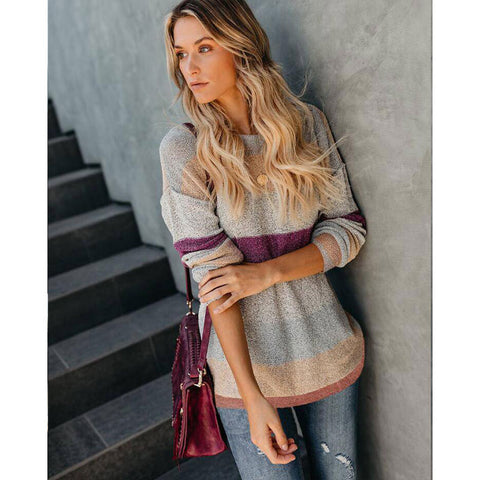 Long Sleeve Crew Neck Contrast Color Knitted Sweater Jumper Tops Pullovers