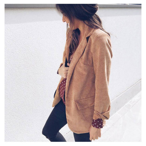 Women Fashion Corduroy Blazer Suit Jacket | Edlpe