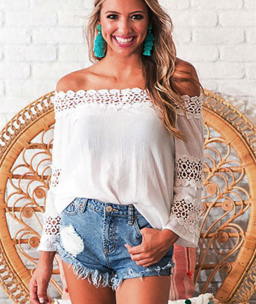 Sexy Women Off Shoulder Hollow Out Neck Tops Long Sleeve Casual Loose Plain Blouse Top | Edlpe