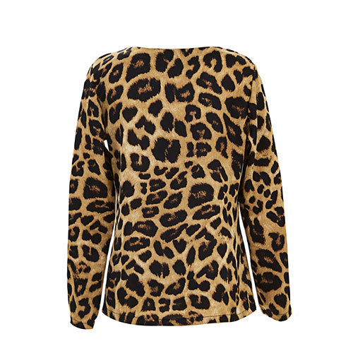 Plunge V Neck Leopard Print T-Shirt Top Long Sleeve Autumn Blouse | Edlpe