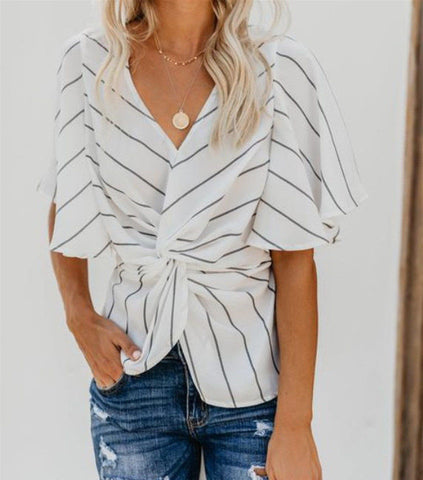 Women Short Sleeve Casual Striped Blouse Top Ladies Ol Work T Shirts Wrap Tops | Edlpe