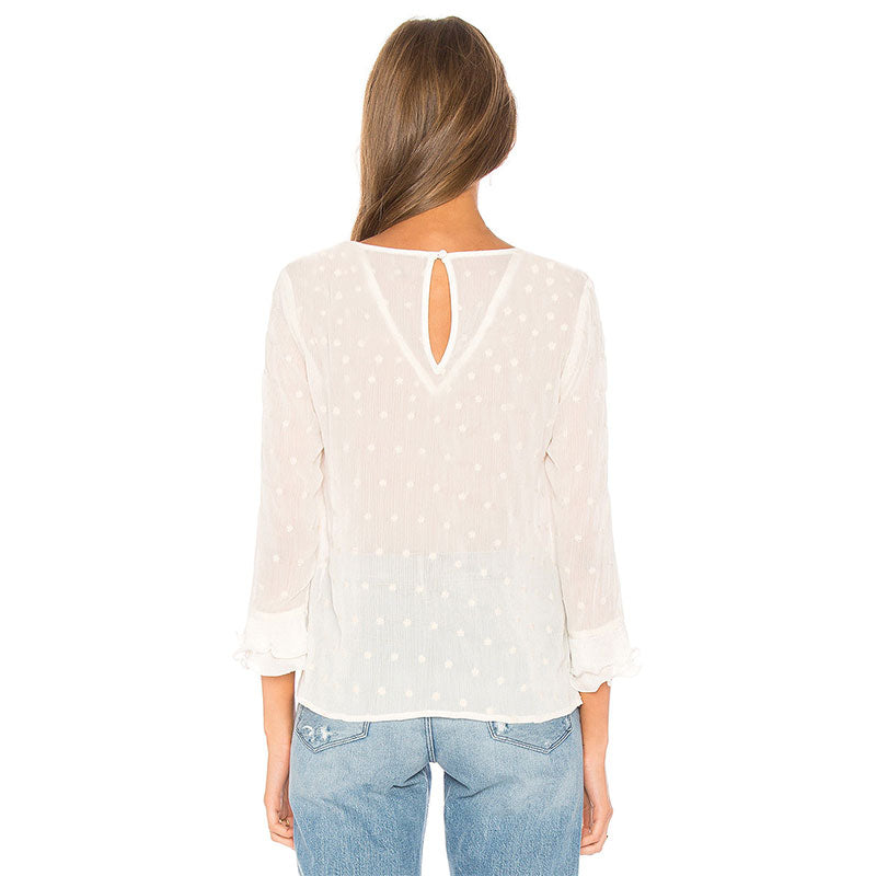 Women Long Sleeve Lace Top Ladies Crew Neck Casual Frill White Blouse Tee | Edlpe