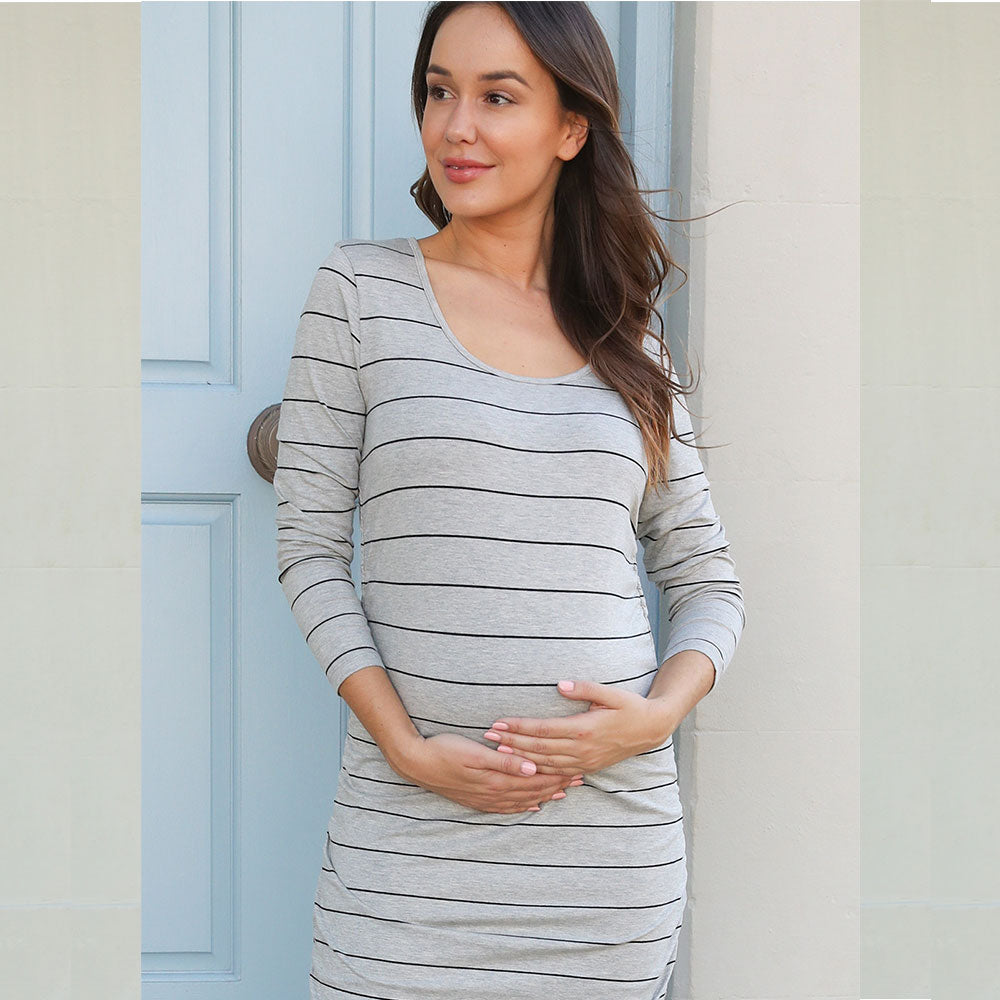 Autumn Striped Maternity Long Sleeves Scoop Neck Midi Dress | Edlpe