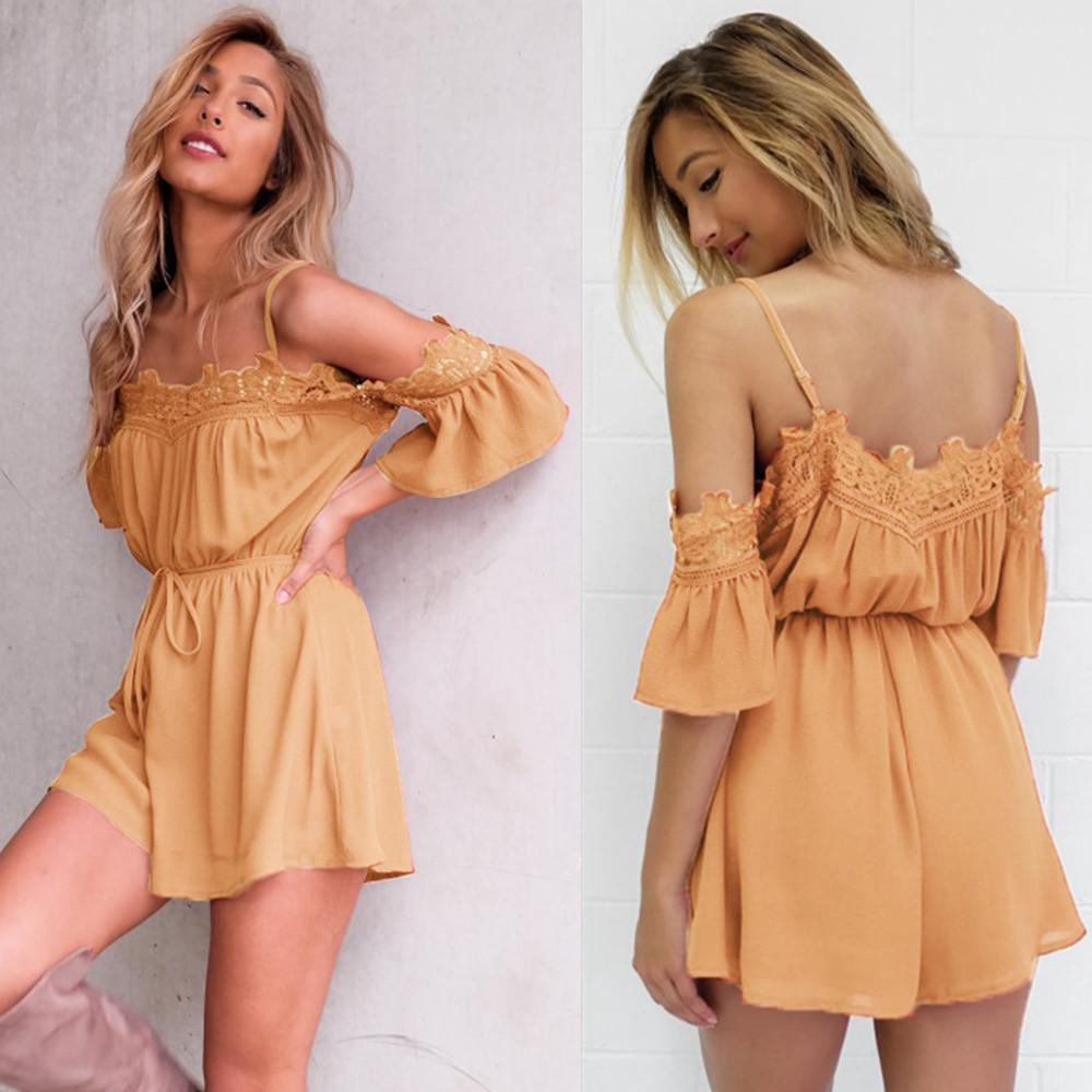 Womens Lace Cold Shoulder Strappy Jumpsuit Holiday Mini Playsuit Summer Daily Short Rompers | Edlpe