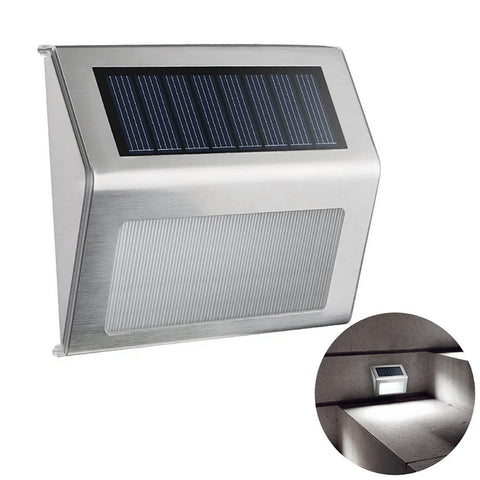 Led Garden Light Stainless Steel Solar Wall Lamp Step Light Outdoor Decor | Edlpe