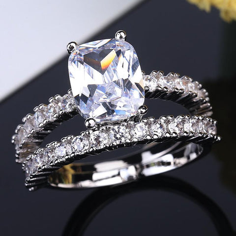 Vintage Ring Zircon Engagement Wedding Band Four Claws Rings Set For Women Bride | Edlpe